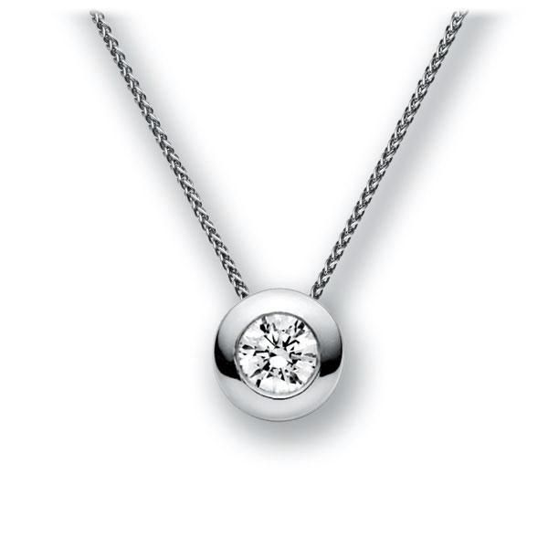 Collier in witgoud 14 kt. met 1 ct. Briljant tw,vs van acredo - A-11IBXF-WW5-1IV64GZ