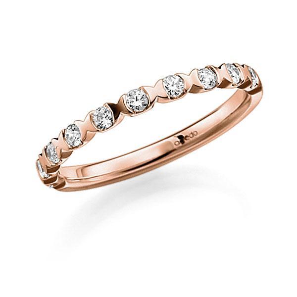 Memoire/Diamantenring in roodgoud 14 kt. half gezet met in totaal 0,3 ct. Briljant tw,vs van acredo - A-3RZ5V-R5-3FTXSZ