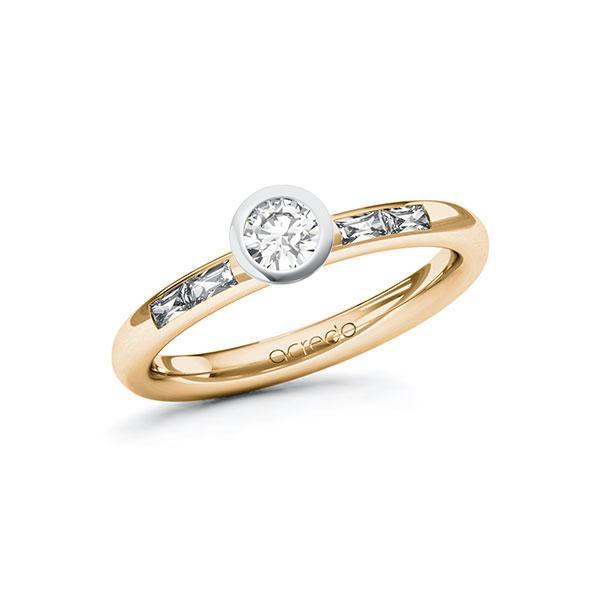 Verlobungsring in Roségold 585 Weißgold 585 mit zus. 0,45 ct. Brillant tw, si tw, vs von acredo - A-ZWLZA-EW5-1RQB96Z