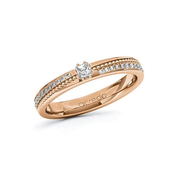 Verlobungsring in Rotgold 585 mit zus. 0,396 ct. Prinzess-Diamant tw, vs tw, si von acredo - A-10ZGSS-RRR5-1SWDBDZ