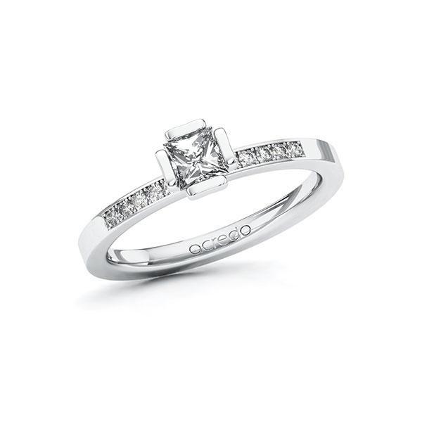 Verlobungsring in Weißgold 585 mit 0,4 ct. + zus. 0,1 ct. Prinzess-Diamant tw, vs tw, si von acredo - A-ZWMJP-WW5-1R4GW6Z