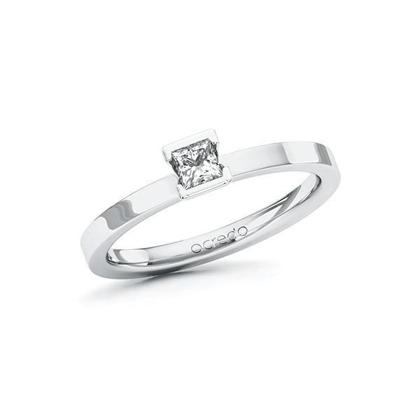 Verlobungsring in Weißgold 585 mit zus. 0,2 ct. Prinzess-Diamant tw, si von acredo - A-ZYU1A-WW5-1R46SLZ