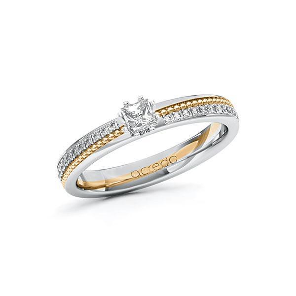 Verlobungsring in Weißgold 585 Roségold 585 mit zus. 0,496 ct. Prinzess-Diamant tw, vs tw, si von acredo - A-10ZH2T-WEW5-1SWDBFZ